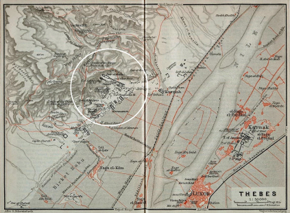 1910s German map of Thebes, Egypt