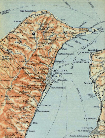 Map showing Messina, Sicily