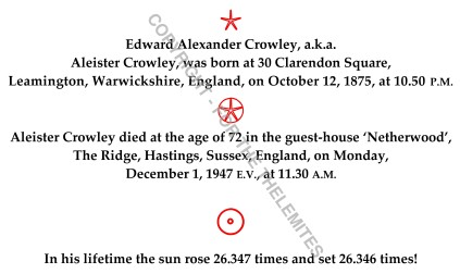 Aleister Crowley's 72 Years Life