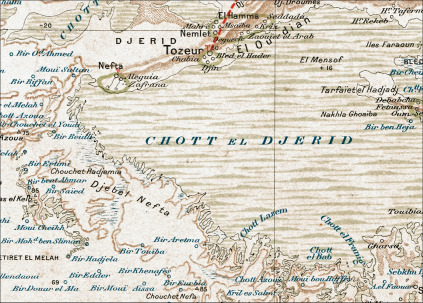 1900s French map showing Nefta and Chott el Djerid in Tunisia